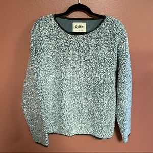 DYLAN frosty tipped blue fleece crewneck pullover